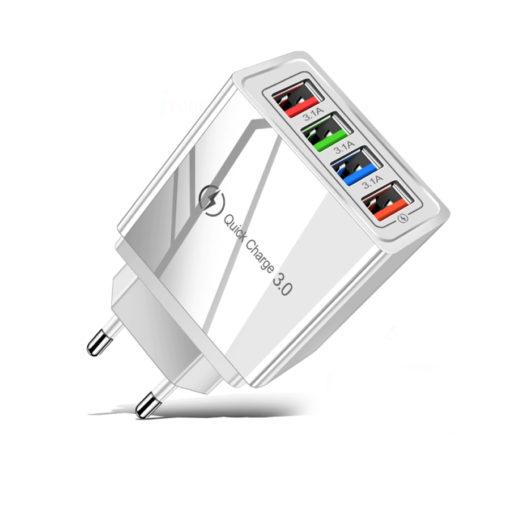 Hálózati gyorstöltő adapter 4 db USB csatlakozóval